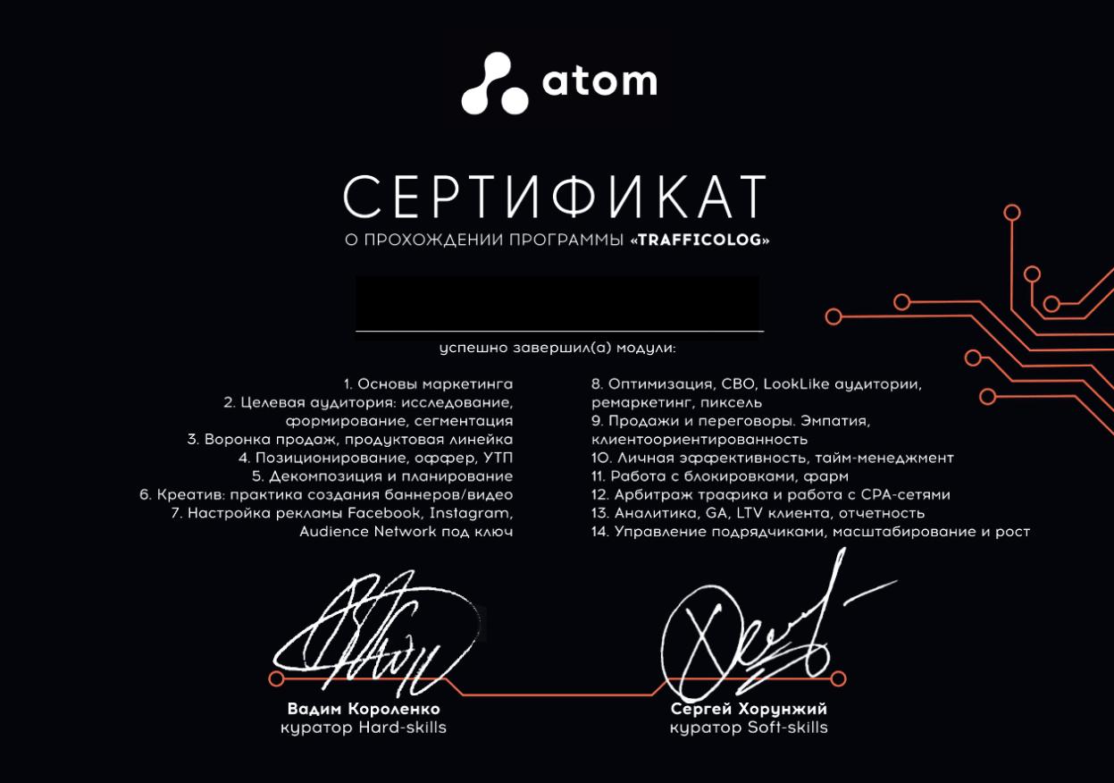 АТОМ Сертификат