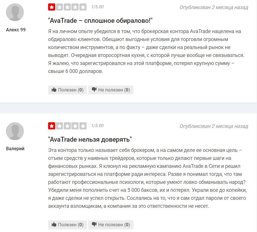 Отрицательные отзывы о Ава Трейд