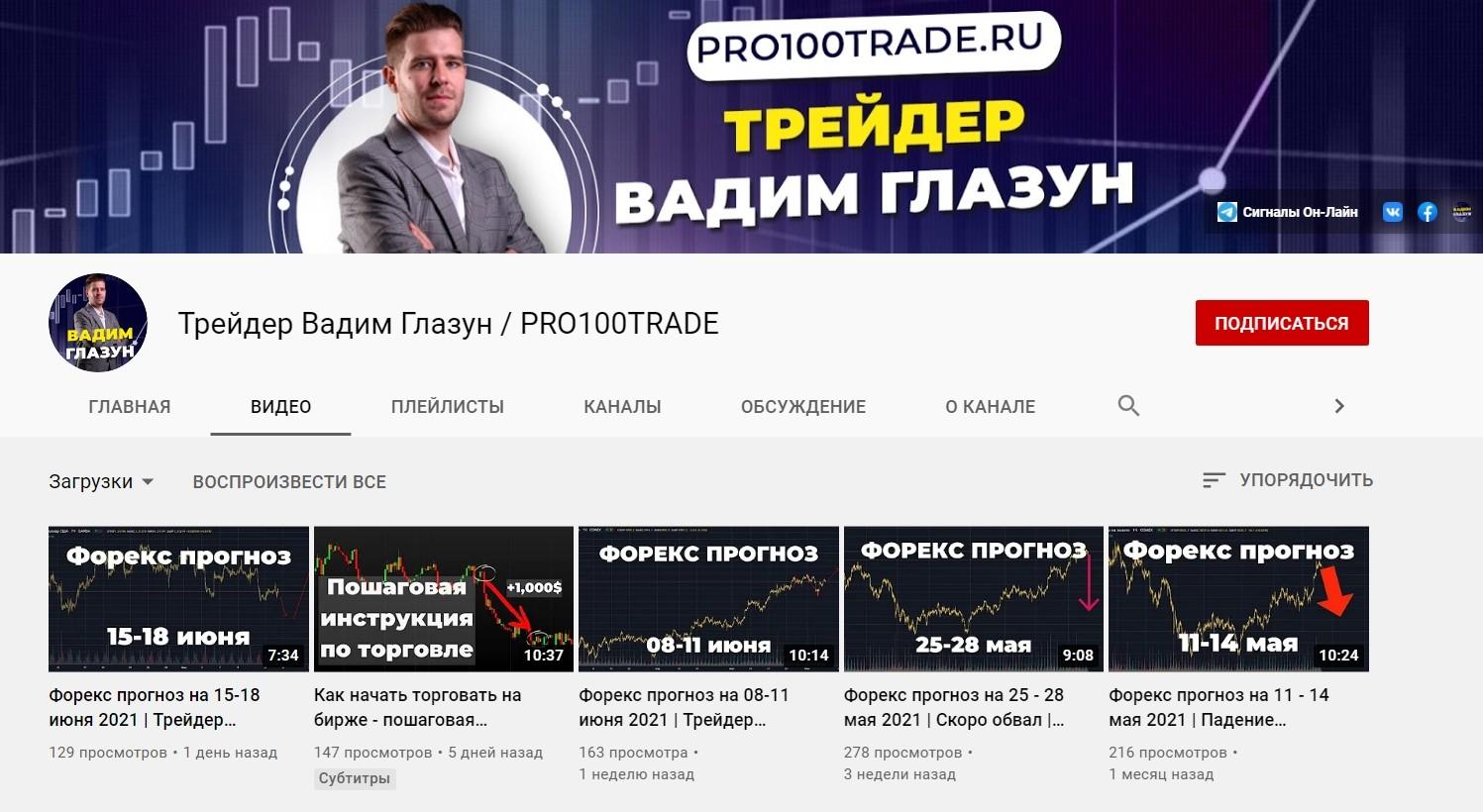Ютуб Канал Вадима Глазуна