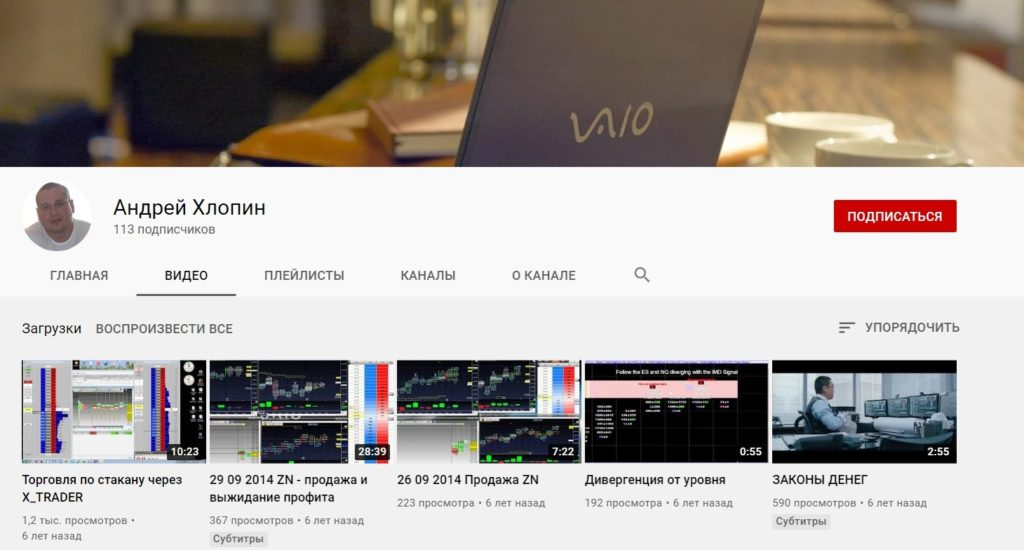 Ютуб канал Андрея Хлопина