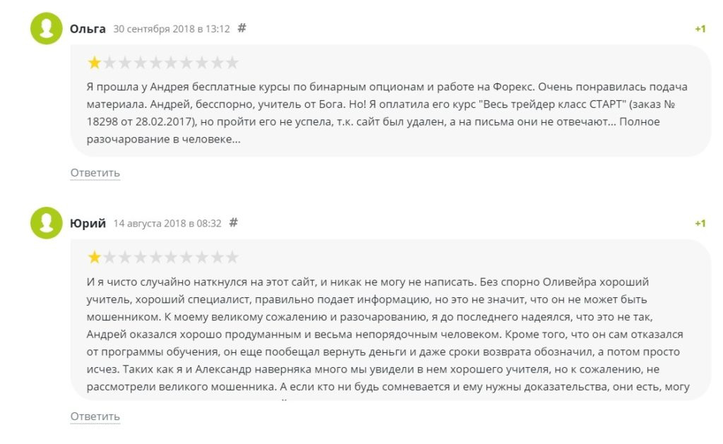 Отзывы о трейдере Андрей Оливейра