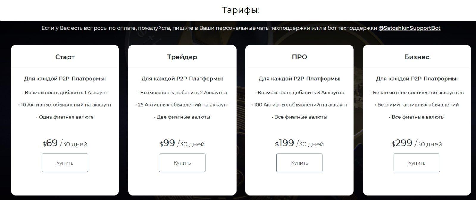 Бот Сатошкин Дмитрия Степанина тарифы