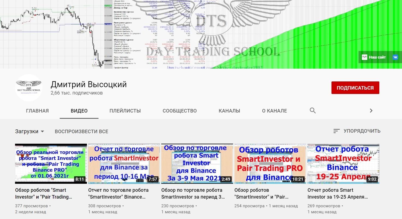 Ютуб канал DayTradingSchool Дмитрия Высоцкого