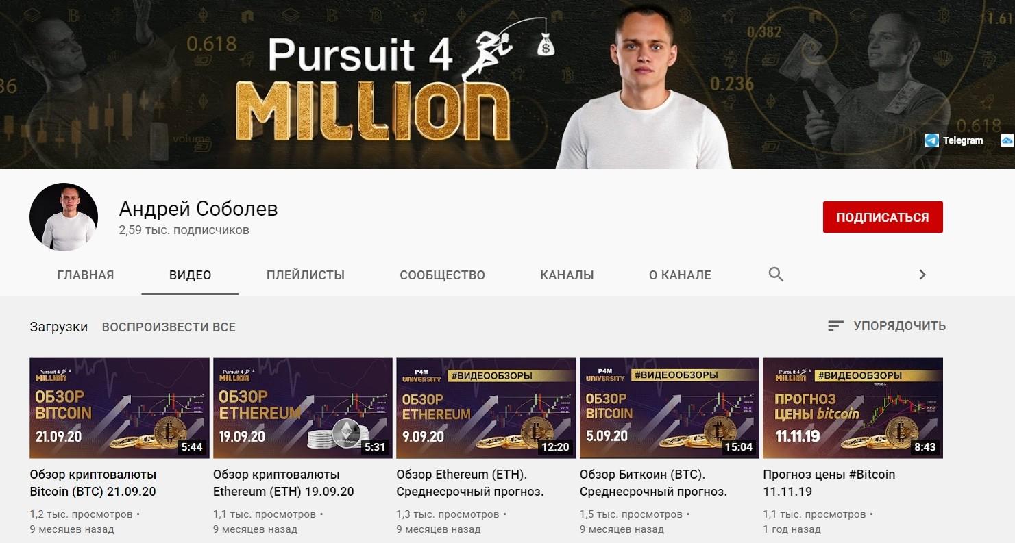 Ютуб канал Трейдер Андрея Соболева