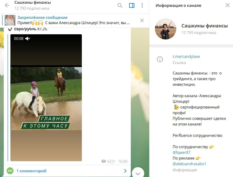 Телеграм канал Александры Шпицер