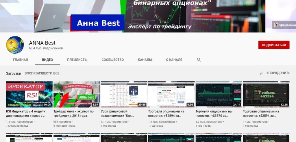 Ютуб-канал трейдера Анны Андреевны