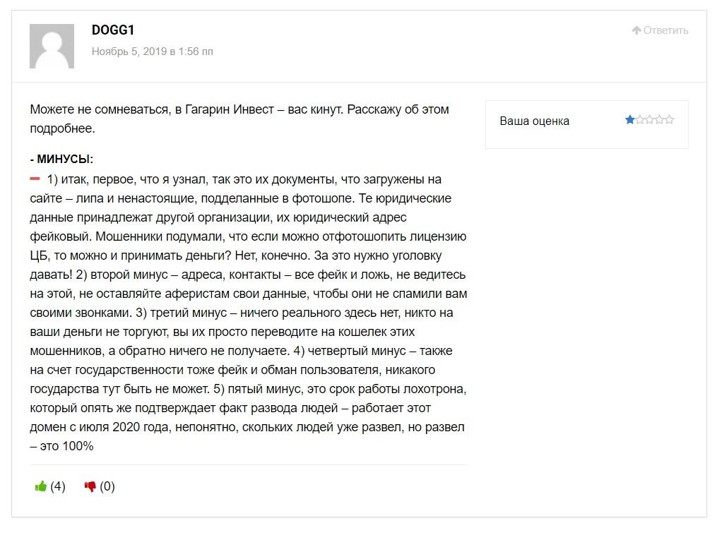 Отзывы о государственной платформе Гагарин Инвест