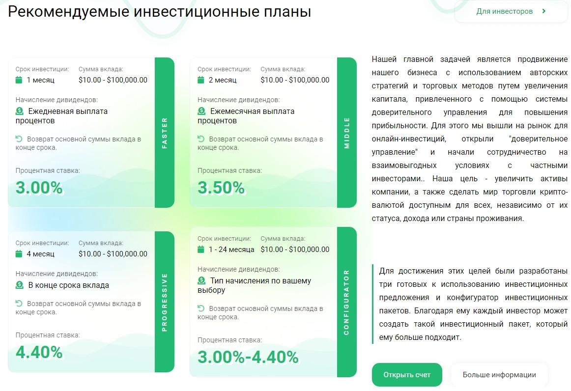 Рекомендуемые инвестиционные планы Aura4Finance