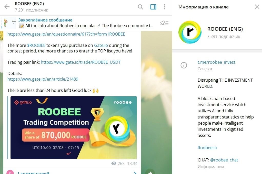 Телеграмм канал Roobee