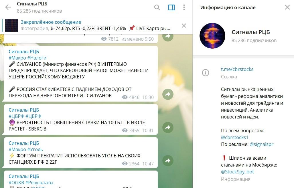 Телеграмм канал Сигналы РЦБ