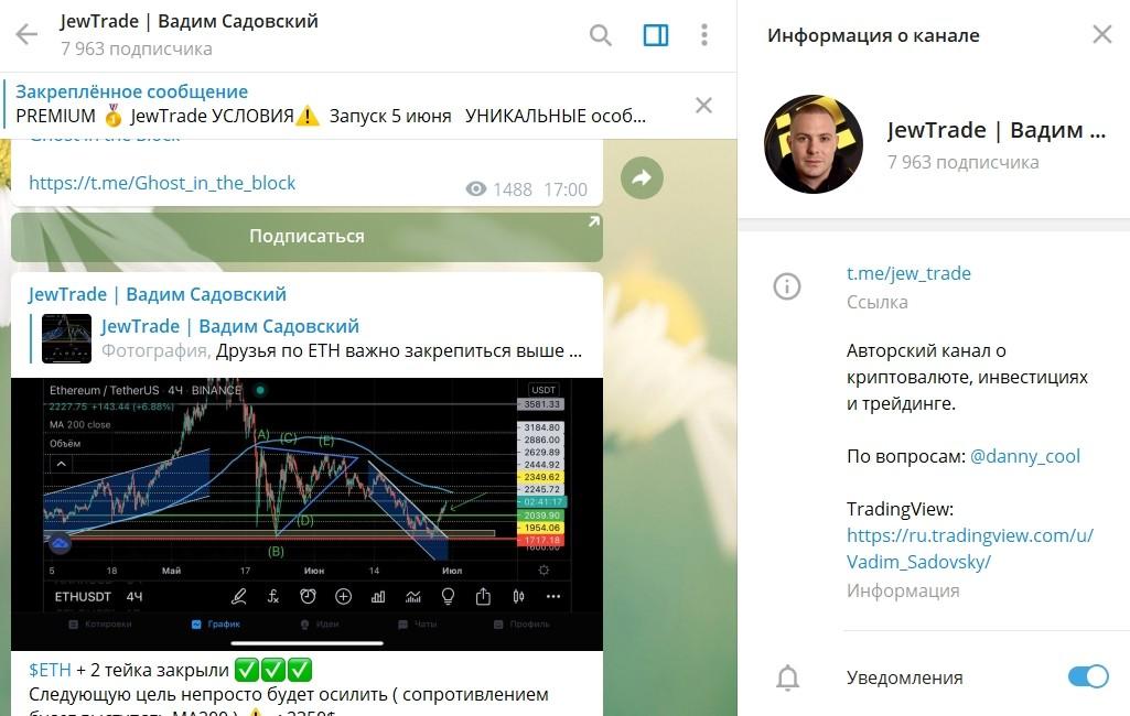 Телеграмм канал Вадима Садовского