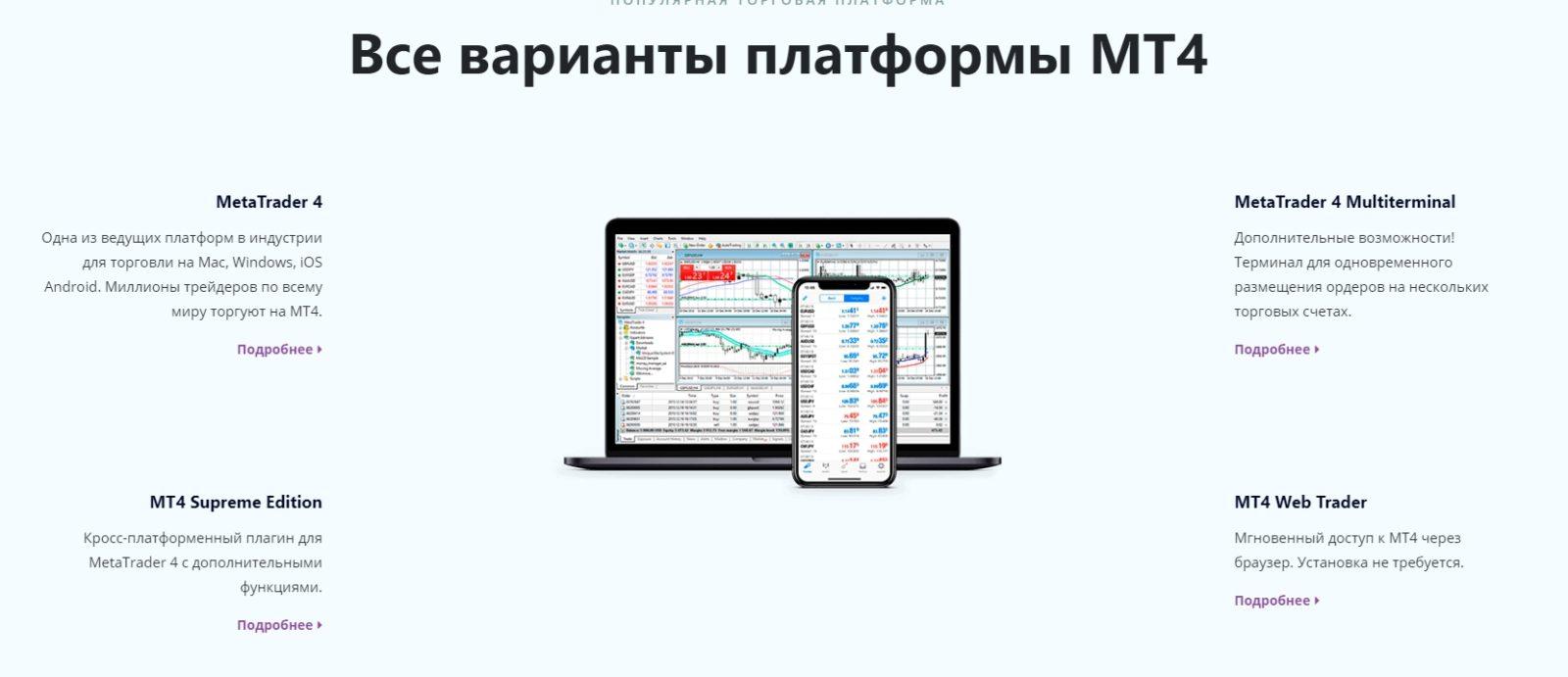 Варианты платформы МТ4 MTrading