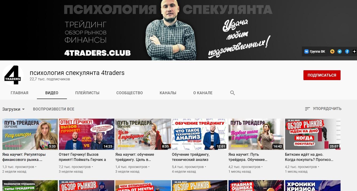 Ютуб канал 4Traders Павла Жуковского