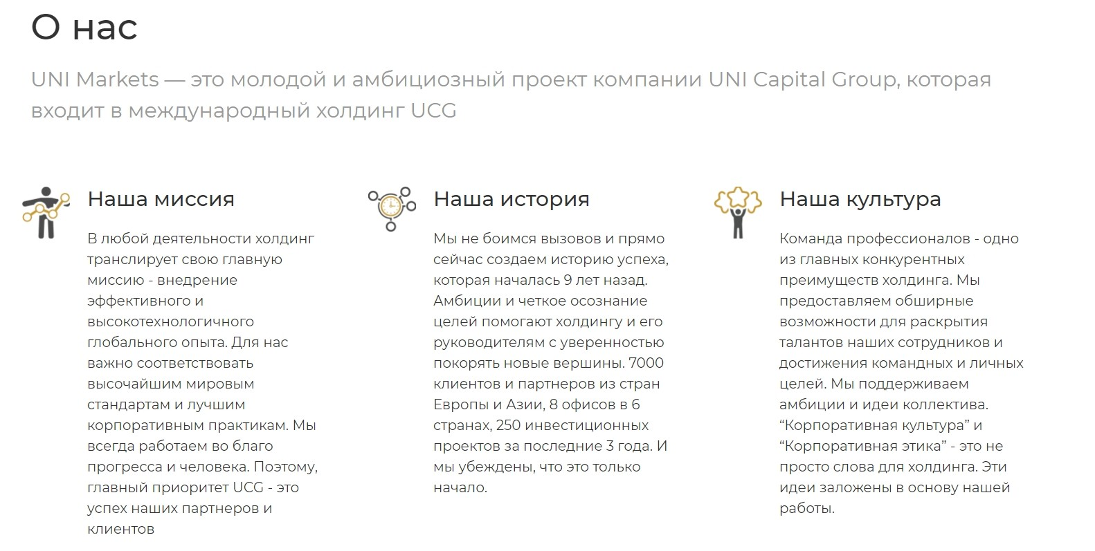 Информация о платформе UniMarkets