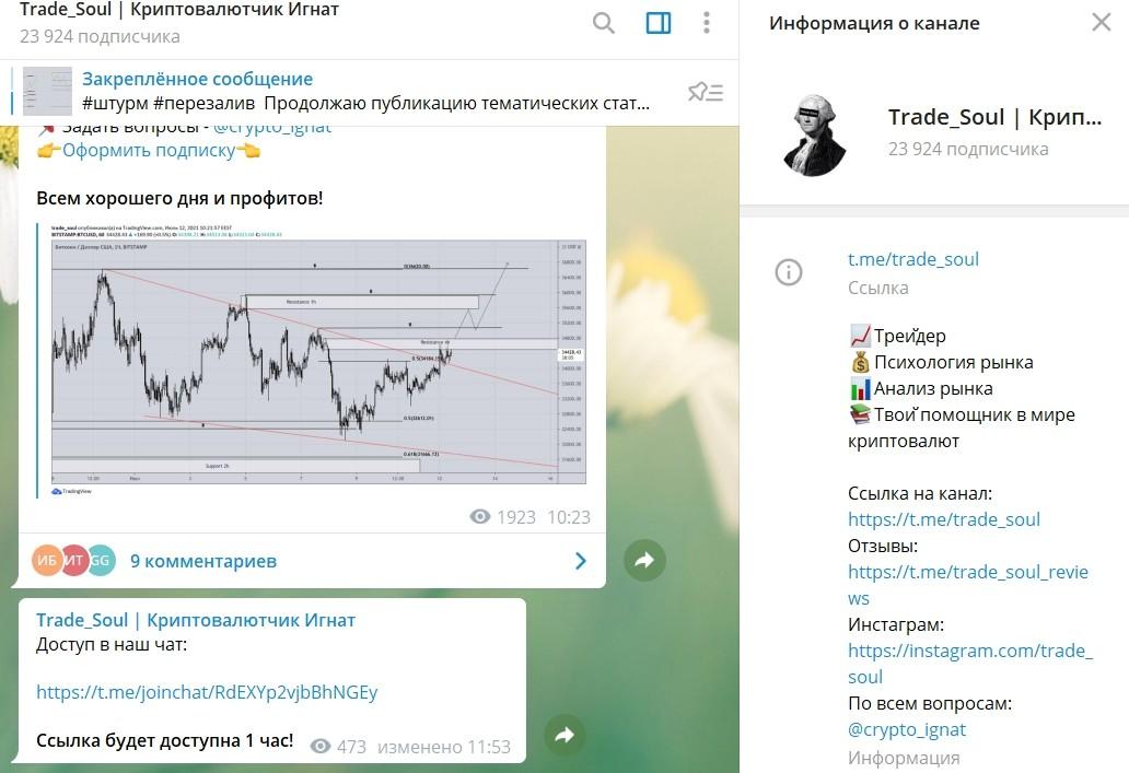 Trade Soul indicator канал в Telegram
