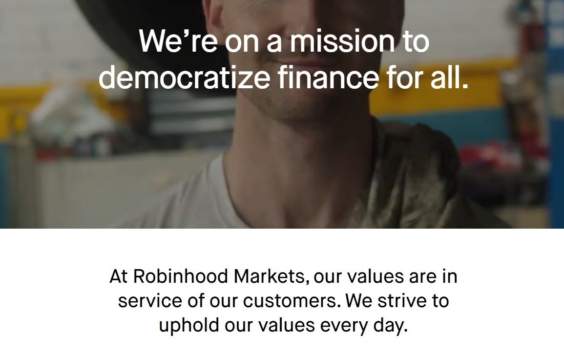 Сайт брокера RobinHood