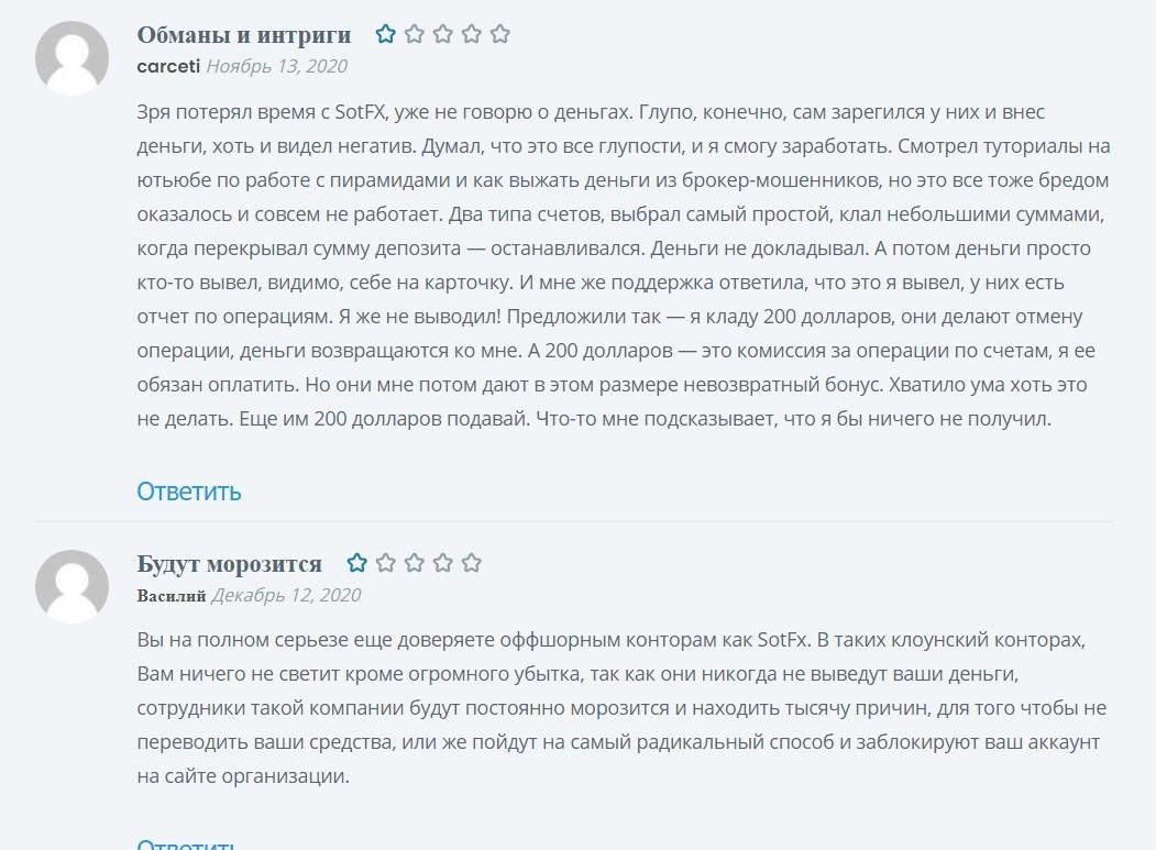 Реальные отзывы о Отзывы о компании SotFX.com