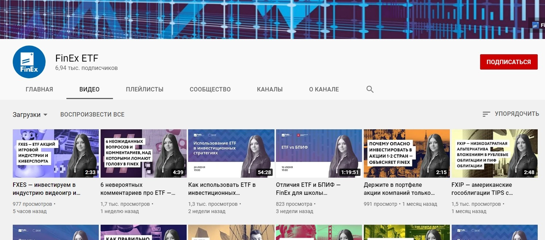 Ютуб канал Finex ETF