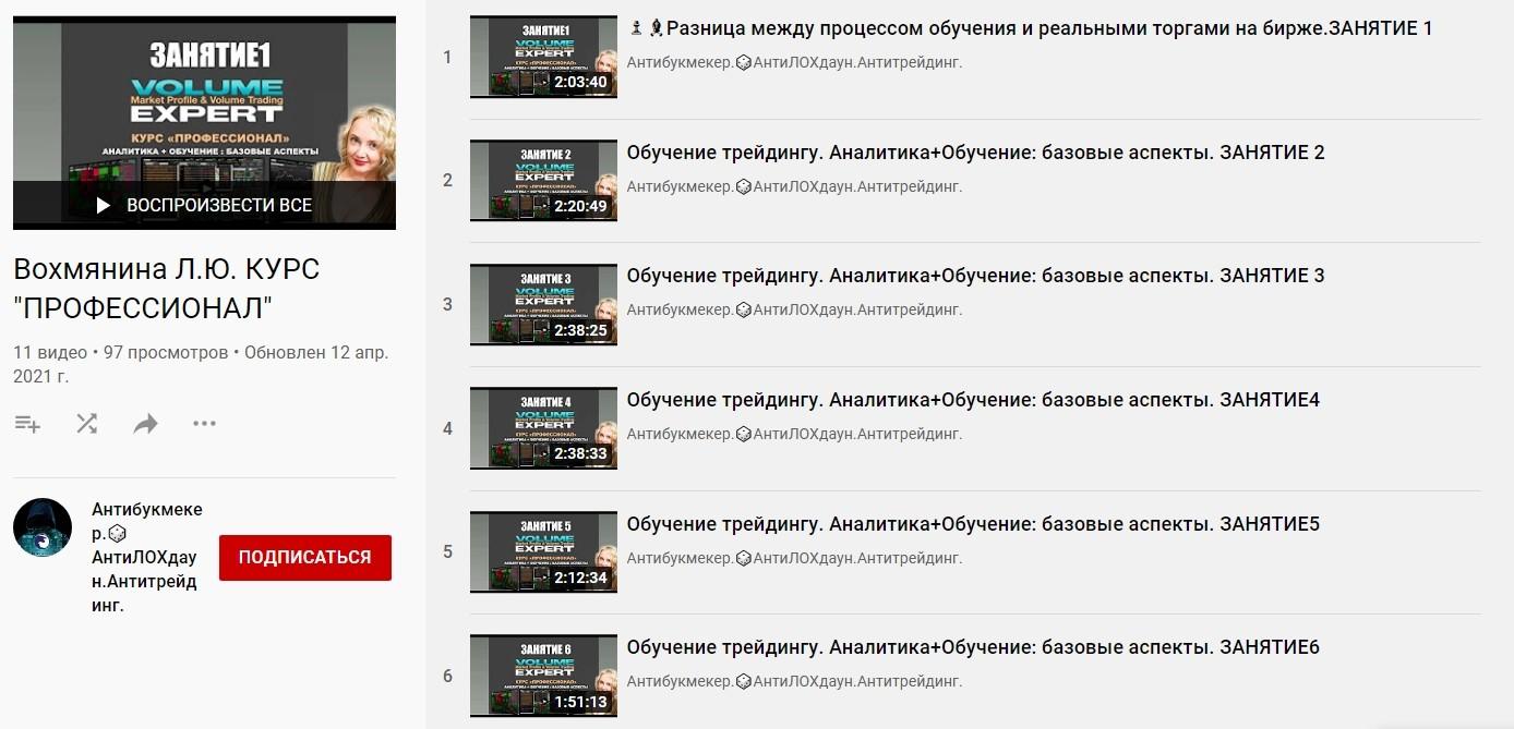 Ютуб канал Людмилы Вохмяниной