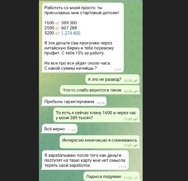 Переписка с клиентом в Telegram