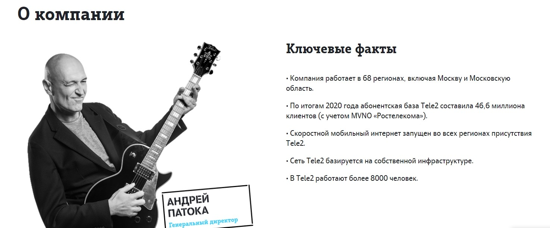 Сайт компании Теле2